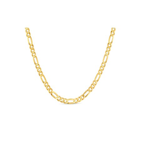 18k Gold Over Sterling Silver Figaro 100 Gauge Chain Necklace 24 Inches