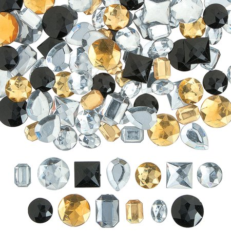Fun Express - Large Black Gold And Silver Acrylic Gems - Craft Supplies - Bulk Craft Accessories - Jewels - 1 Piece Large Black Gold And Silver Acrylic Gems - Craft Supplies - Bulk Craft Accessories - Jewels - 1 Piece