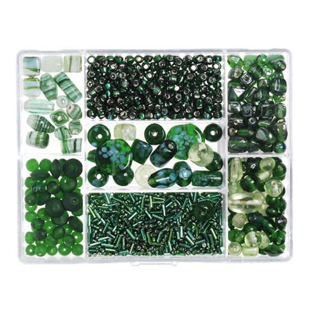 Green Glass Beads: Value Pack Bead Box