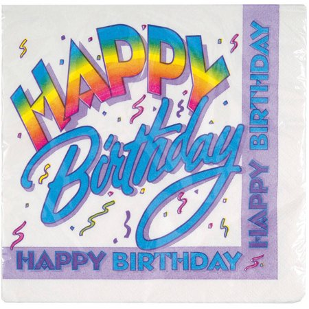 Retro Rainbow Happy Birthday Party Lunch Napkins, - Retro Happy Birthday
