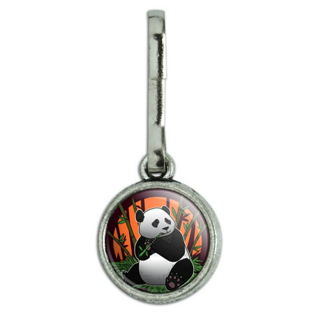 Giant Panda Bear Eating Bamboo Antiqued Charm Clothes Purse Suitcase Backpack Zipper Pull Aid