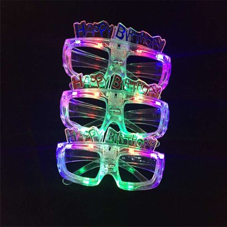 12 Pcs LED Shutter Glasses Light Up Shades Flashing happy birthday LED - Light Up Shutter Shades