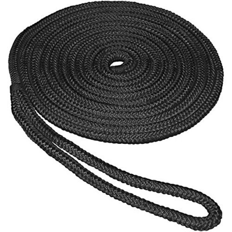 """Image of Aamstrand Double Braid Nylon Colored Dock Lines - Black 1/2"""" X 20' 26606"""