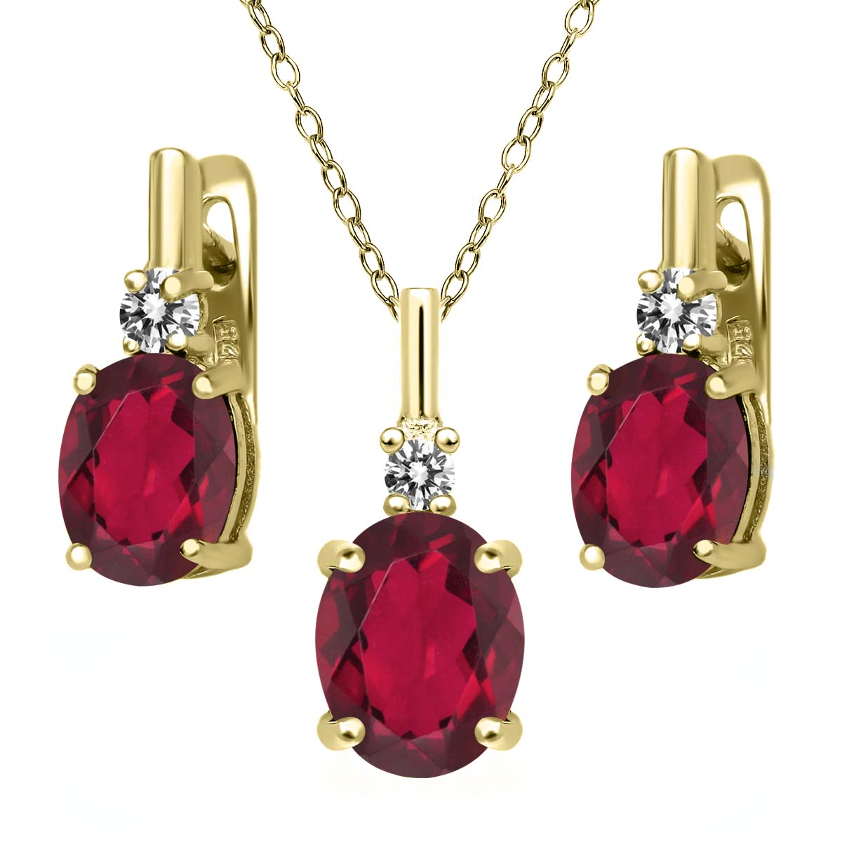 6.97 Ct Red Mystic Quartz White Diamond 18K Yellow Gold Plated Silver Pendant Earrings Set by