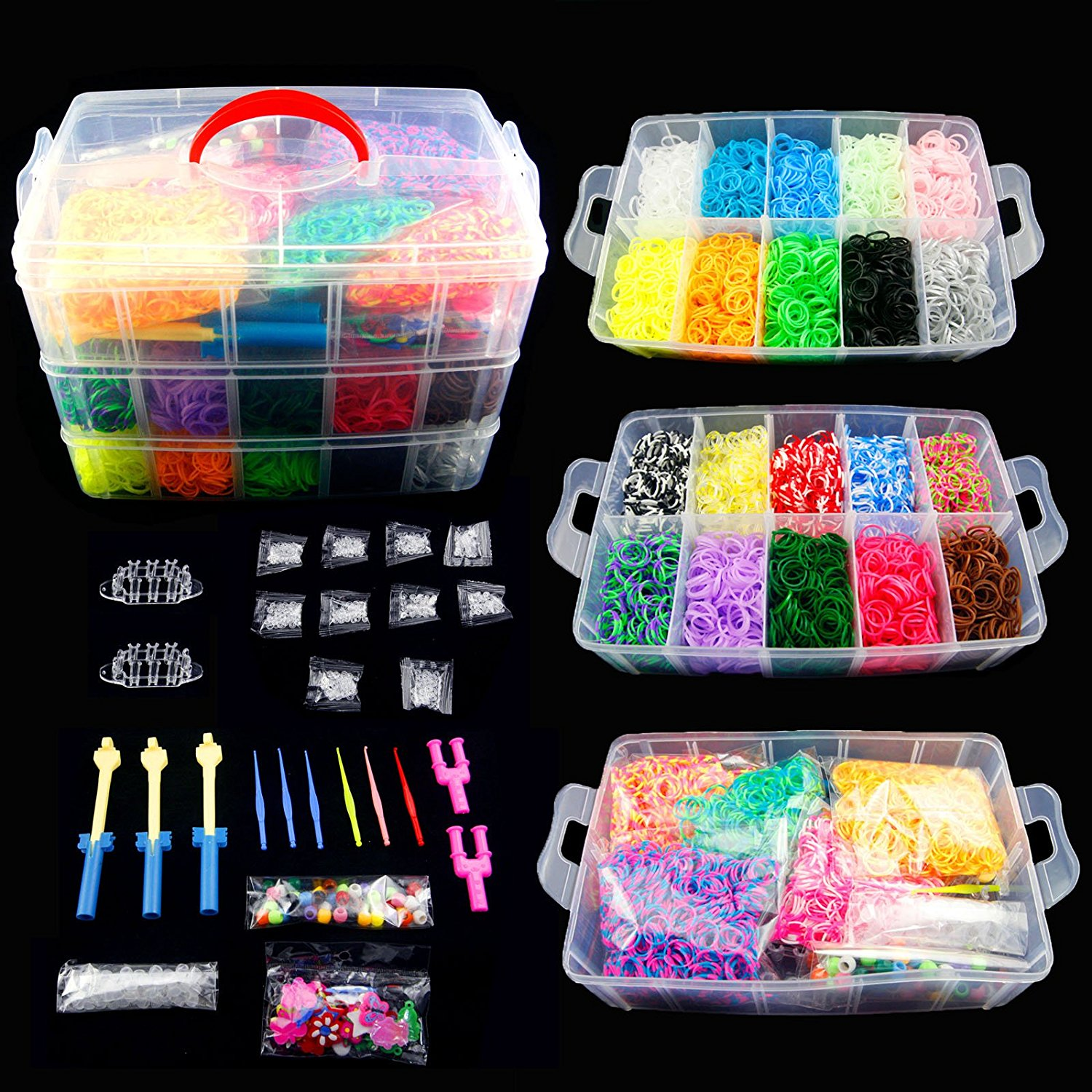ProTech 14000 Colorful Rainbow Rubber Loom Bands Bracelet...