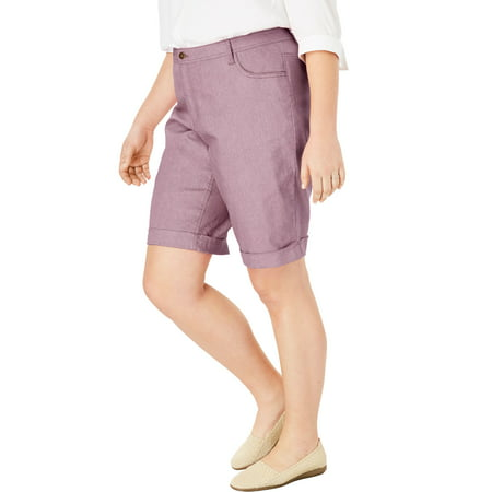 08928e6f54c Woman Within - Woman Within Plus Size Stretch Jean Bermuda Short ...