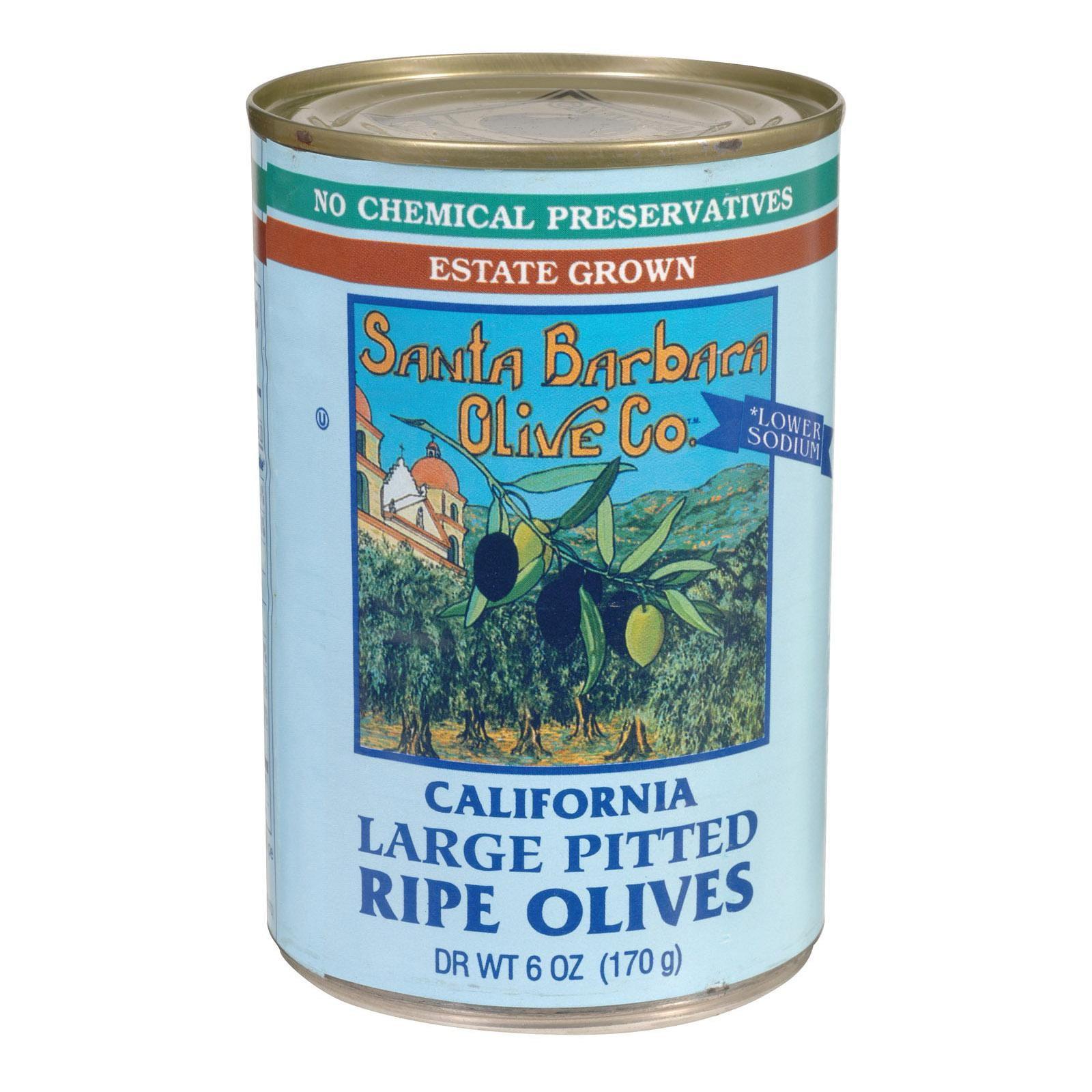 Santa Barbara Pitted Olives - Large Black - Pack of 12 - 5.75 Oz.