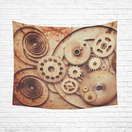MYPOP Steampunk Background From Mechanical Clocks Wall Tapestry 51x60 inches Wall Hanging Tapestries