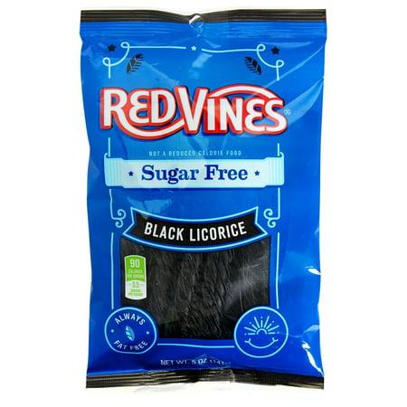 12 PACKS : Sugar Free Vines, Black Licorice, 5 oz bag