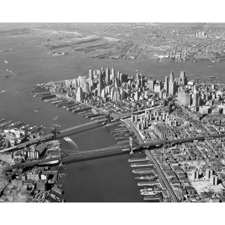 1950s Aerial Of Downtown Manhattan East And Hudson Rivers Meet In Harbor Brooklyn And Manhattan Bridges Print By Vintage (Party City Downtown Brooklyn)