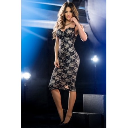 Fame And Fortune Midi Dress Grupo Espiral 4390 Black Nude