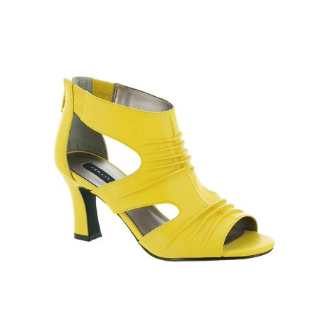 Array Womens Sizzle Leather Open Toe Classic Pumps, Yellow, Size 10.5