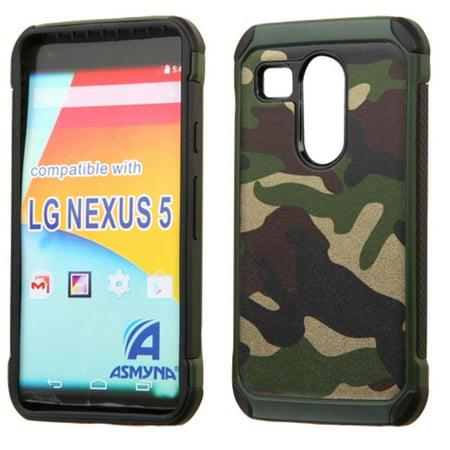 sale retailer 957f2 f44c4 Insten Camouflage Hard Dual Layer Rubberized Silicone Case For LG Google  Nexus 5X - Green/Black