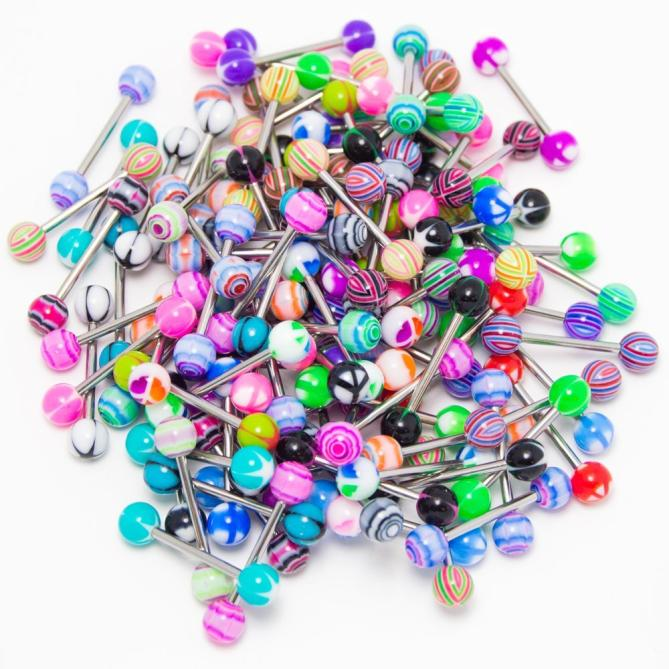 30PCS Colorful Stainless Steel Ball Barbell Tongue Rings Bars Piercing Cosmetic