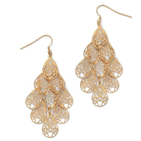 Filigree Chandelier Earrings in Yellow Gold Tone (Vintage Gold Tone Filigree)