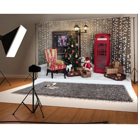 GreenDecor Polyester 7x5ft Christmas Photography Backdrop Tree Decorations Snow Ground Snowman Chair Gift Box Red Telephone Booth Lamp Scene Photo Background Children Baby Adults Portraits Backdrop - Adult Baby Phone Lines