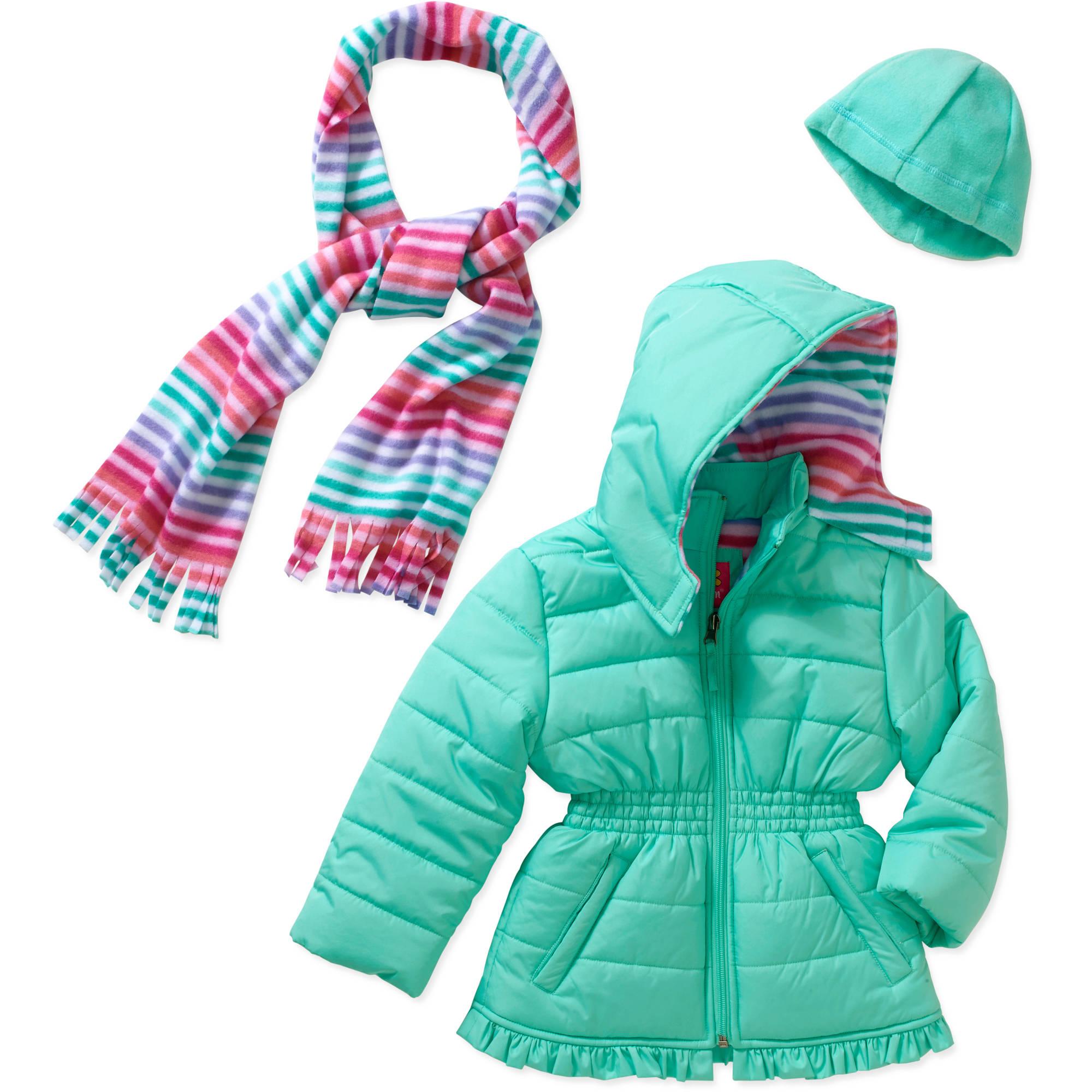 Pink Platinum Baby Toddler Girl Hooded Ruffle Puffer Jacket with Free Bonus Scarf Gift Set