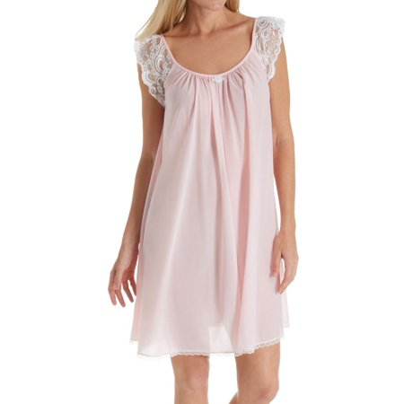Women's Amanda Rich 106B Lace Cap Sleeve Knee Length Nightgown