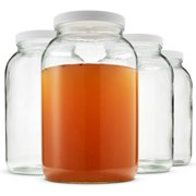 High-Quality 1-Gallon Glass Jar Wide Mouth with Plastic Lid, Dishwasher Safe 4 Pack