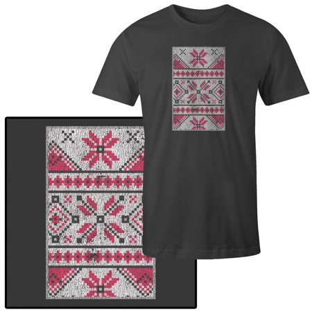 Men's Pixelated Nordic Winter Pattern in White Pink and Gray T-Shirt