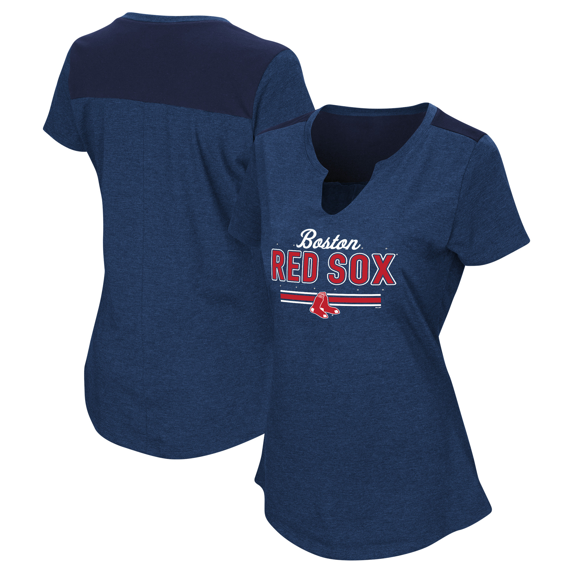 Women's Majestic Navy Boston Red Sox Plus Size Switch Hitter T-Shirt