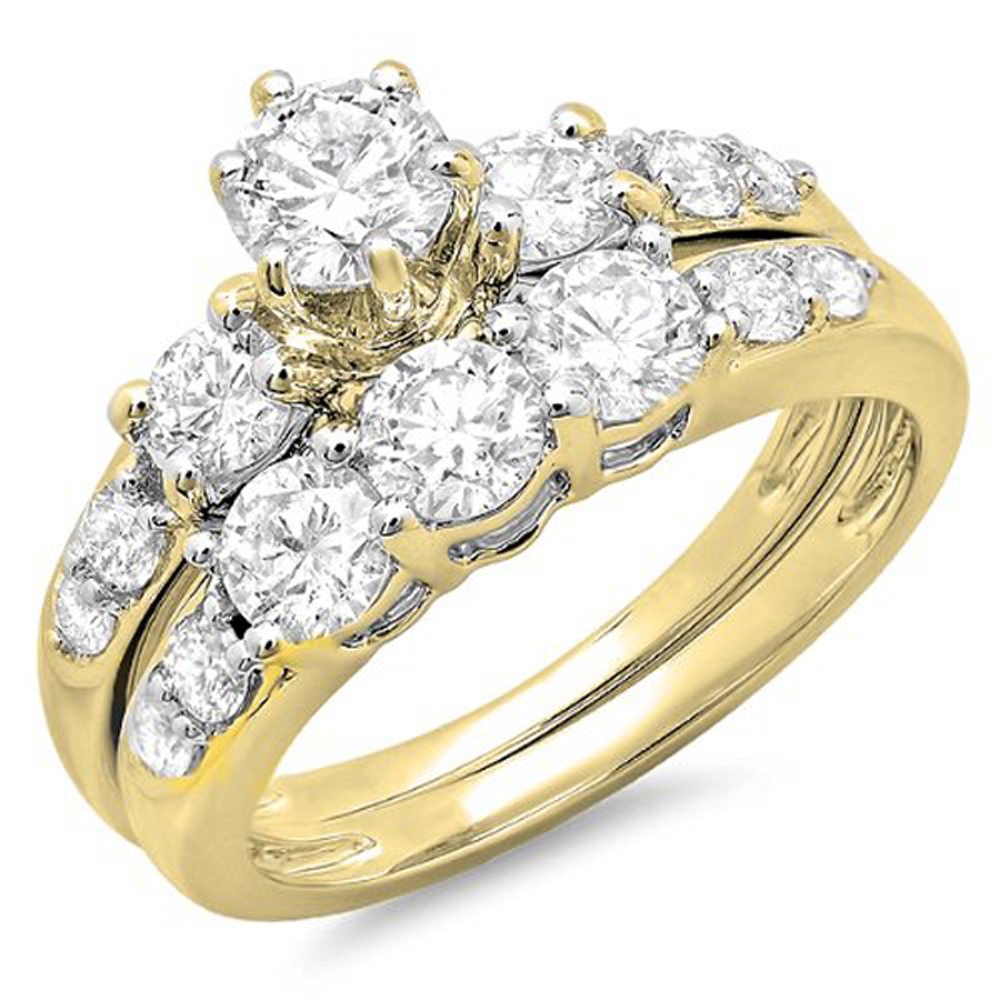 Dazzling Rock 3.00 Carat (ctw) 10K Gold Round White Cubic...