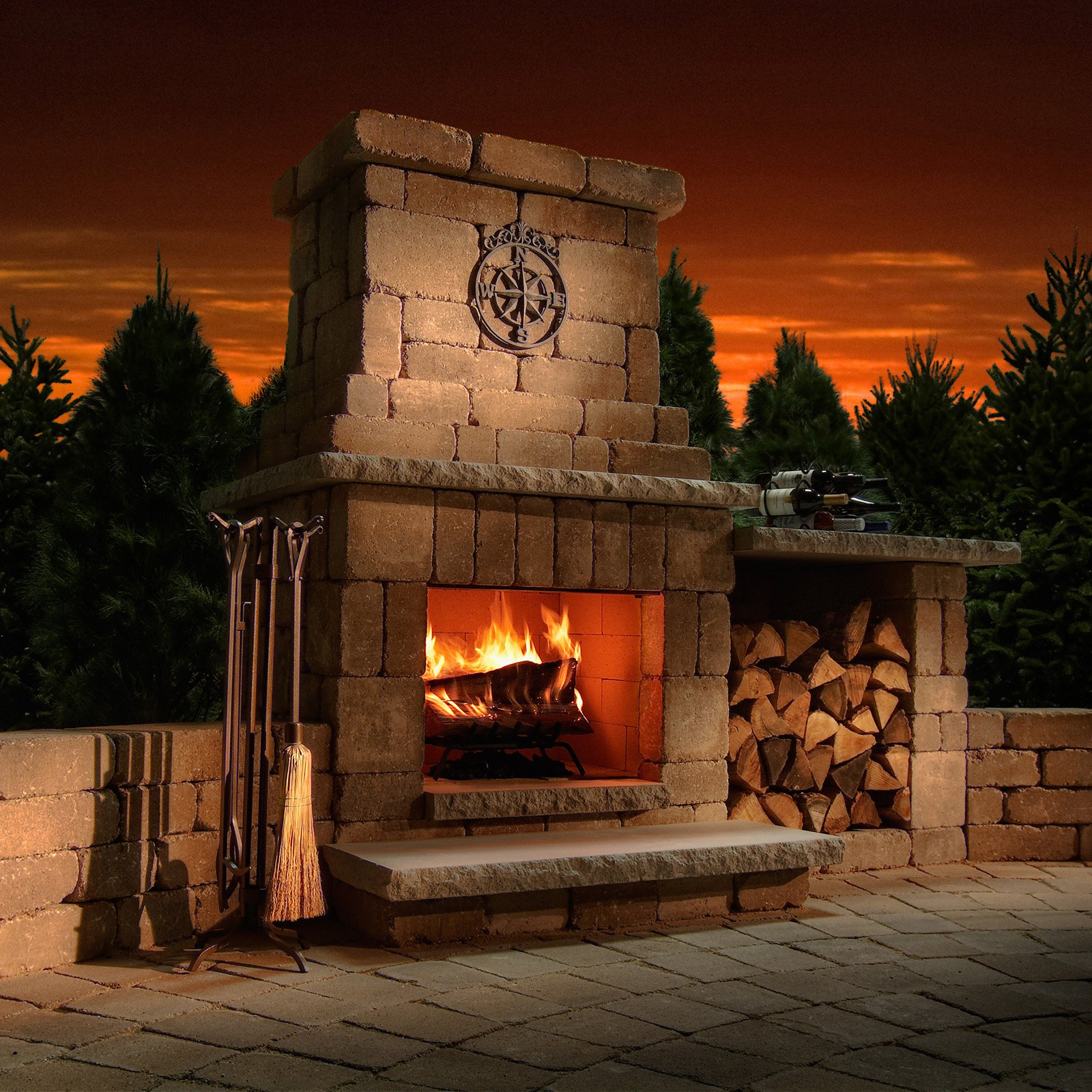 Necessories Colonial Outdoor Fireplace by Rochester Concrete Products LLC