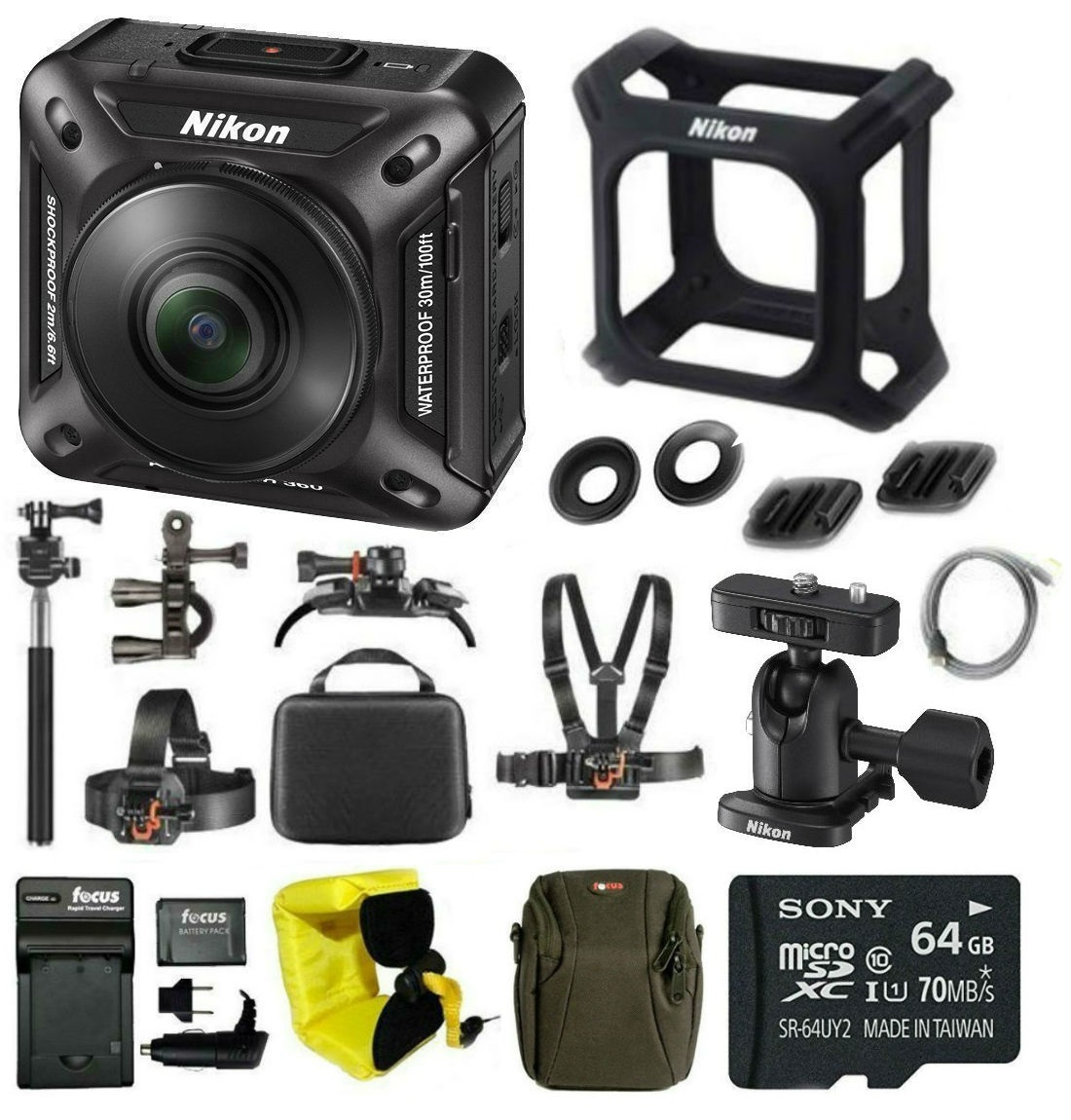 nikon keymission 360 wi-fi 4k action camera + sony 64gb class 10 memory card + accessory bundle