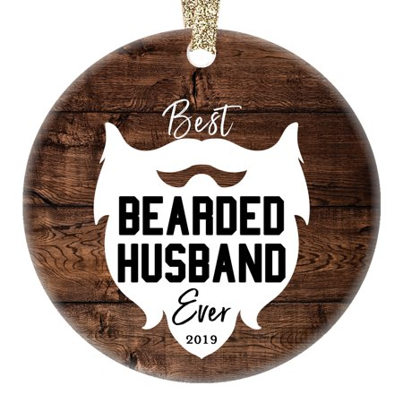 Bearded Husband Ornament Best Ever Humorous Christmas 2019 Ceramic Collectible Present Holiday Keepsake for Hubby Spouse from New Bride Wife Partner 3