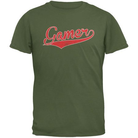 Adult Military Green T-shirt - Gamer Military Green Adult T-Shirt