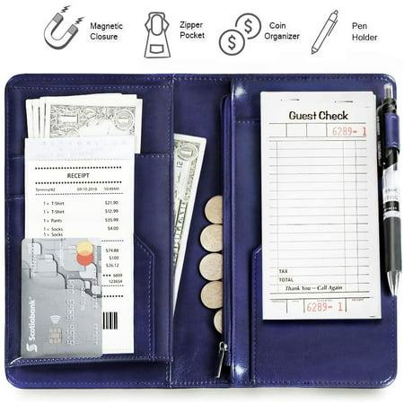 Server Book Organizer, 5 x 9 Inch Server Book Wallet with Zipper Pocket and Pen Holder for Restaurant Waitress Waiter, Blue