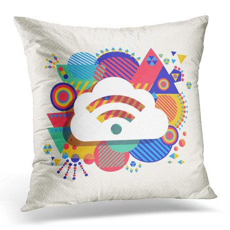CMFUN Fun RSS Feed Cloud Computing Design with Colorful Vibrant Geometry Shapes Social Media Concept Abstract Pillow Case Pillow Cover 20x20