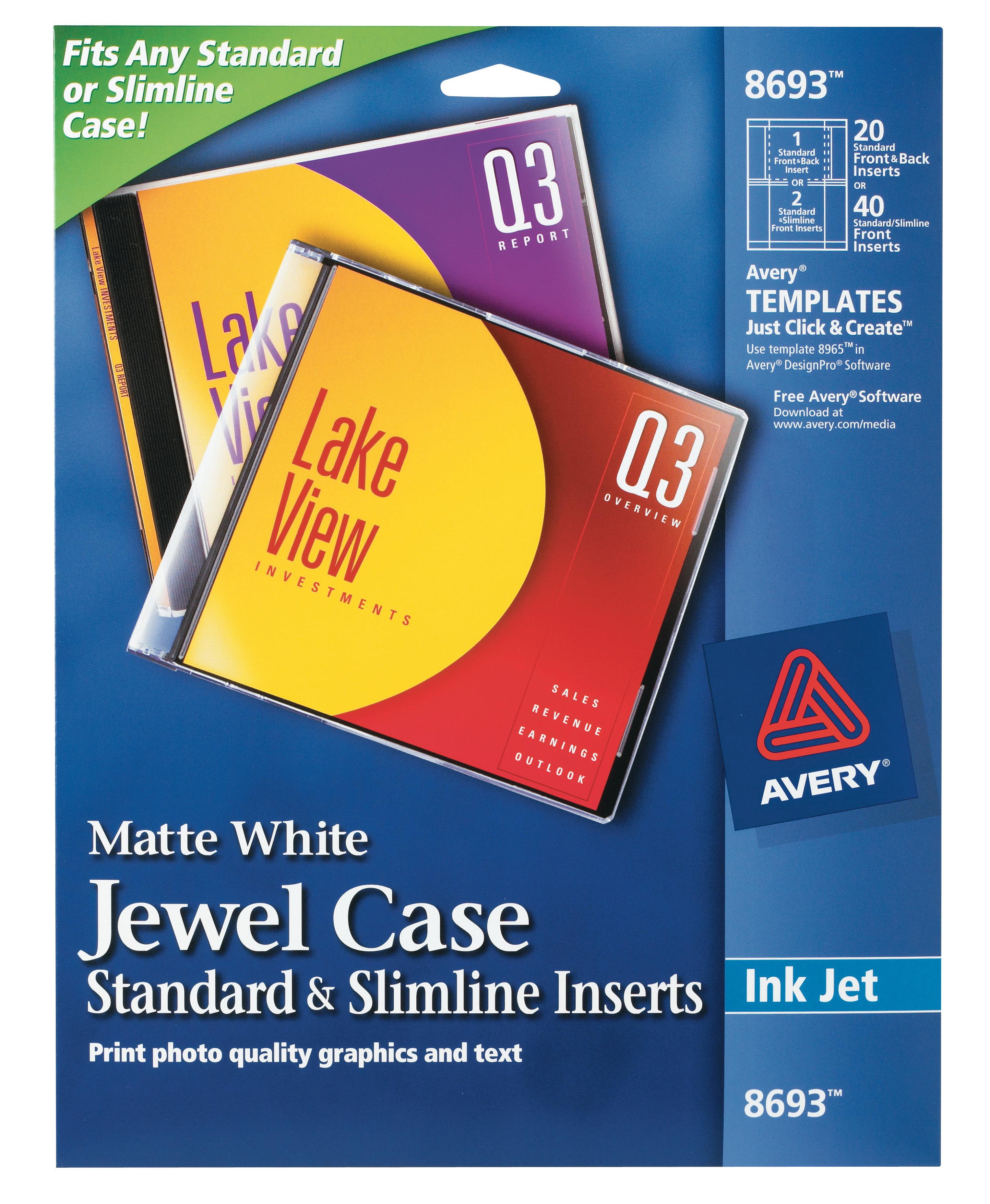 Avery Jewel Case Standard Slimline Inserts Matte 20 Inserts 8693 Walmart Com Walmart Com