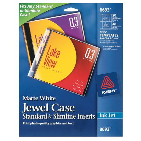 - Inkjet CD/DVD Jewel Case Inserts, Matte White, 20/Pack
