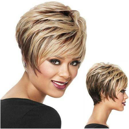 Women Fashion Short Layered Shaggy Full Synthetic False Hair Brown Highlights Short Hair with Band False Hair Fake Hair Party Hair](Shaggy Girl)