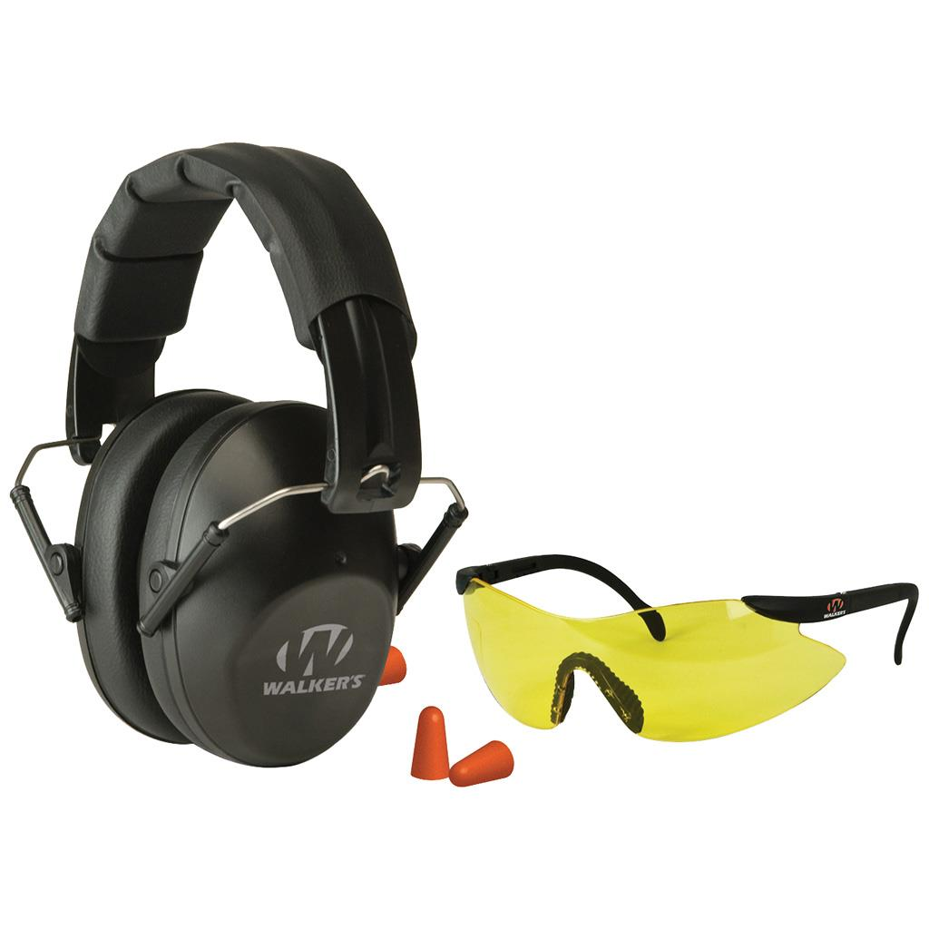 WALKERS GAME EAR PASSIVE PRO SAFETY COMBO KIT EARMUFF/PLUGS/GLASSES 31 DB BLK