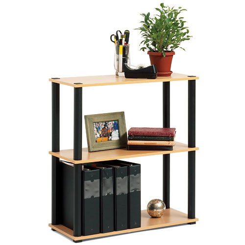 Open Sided 3-Shelf Bookcase, Black and Light Oak