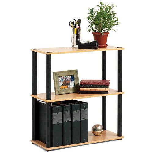 Open Sided 3-Shelf Bookcase, Black and Light Oak