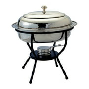 """17"""" x 14"""" x 16½"""" Oval Polished Nickel over S/S Chafing Dish, 6 Qt."""