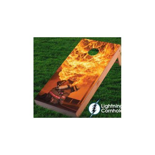 Lightning Cornhole Fire Fighter Flames Cornhole Board by