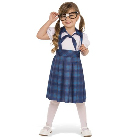 nerd school girl child geeky genius blue plaid uniform halloween costume - Plaid Halloween Costumes