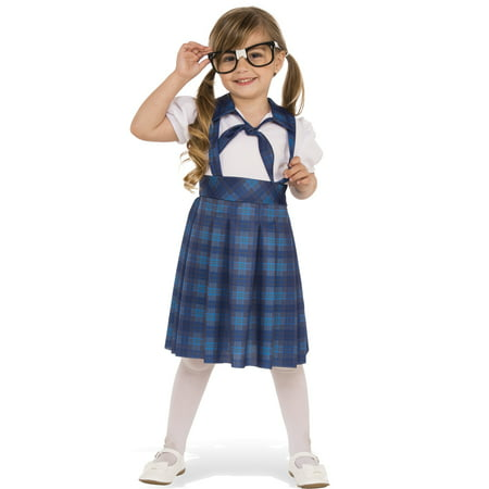 nerd school girl child geeky genius blue plaid uniform halloween costume