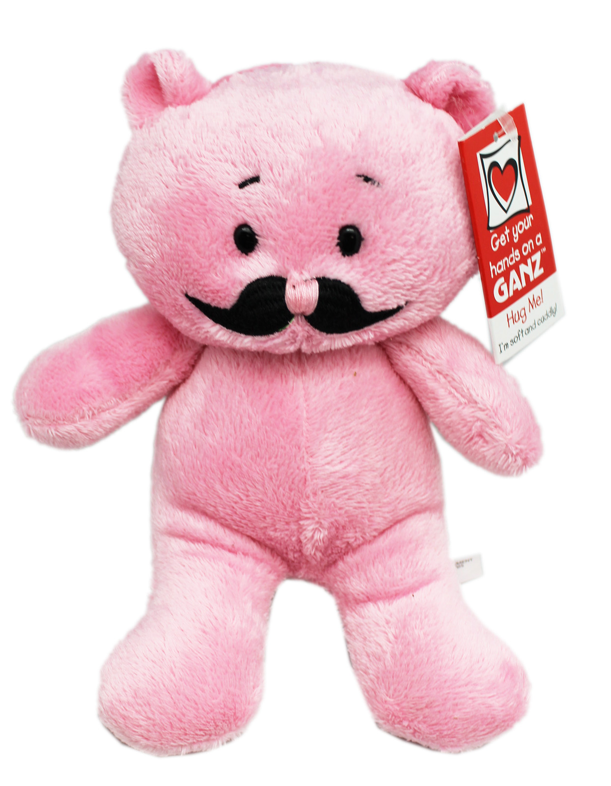 Moustache Bear Funny Pink Colored Small Size Teddy Bear By Ganz by
