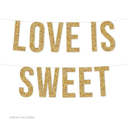 Gold Love is Sweet Real Glitter Paper Pennant Hanging Banner Includes String No Assembly Required