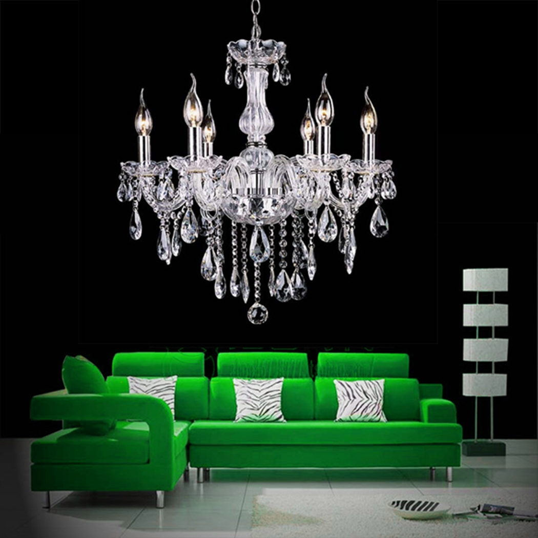Chandelier 6 Lights Pendant Glass Ceiling Lamp by