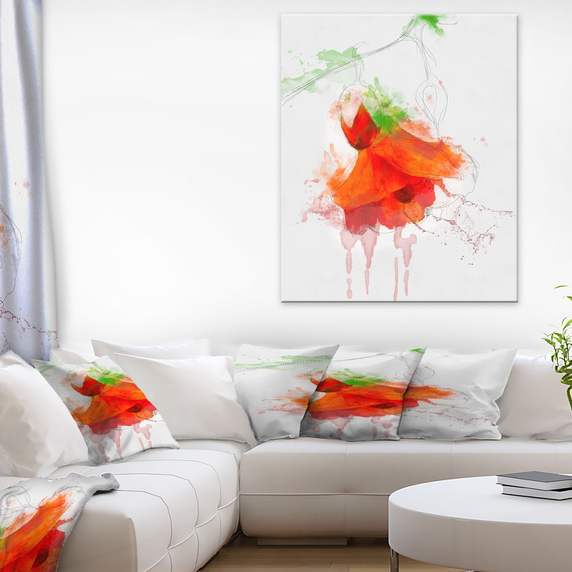 Red Rose Watercolor Illustration - Floral Canvas Art Print - image 3 of 3