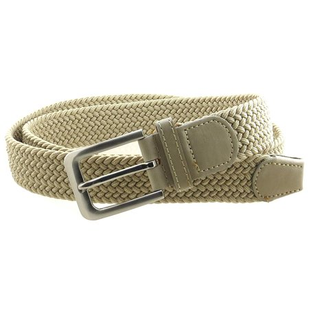 Mens Braided Elastic Stretch Belt Leather Tipped End and Silver Metal Buckle ()