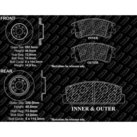 Max Brakes Front & Rear Elite Brake Kit [ E-Coated Slotted Drilled Rotors + Ceramic Pads ] KT091783 | Fits: 2003 03 2004 04 2005 05 Mazda 6 - image 3 de 8