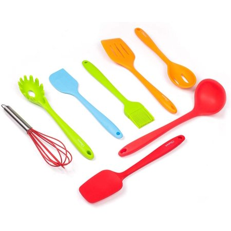 Silicone Utensils Set Cooking Utensils 8-Pieces Non-stick Heat Resistant Include Whisk, Pasta Fork, Soup Ladle, Serving Spoon, Spatula Turner, Basting Brush, Slotted Spoon - Colorful Nylon Kitchen Utensil Slotted Spoon