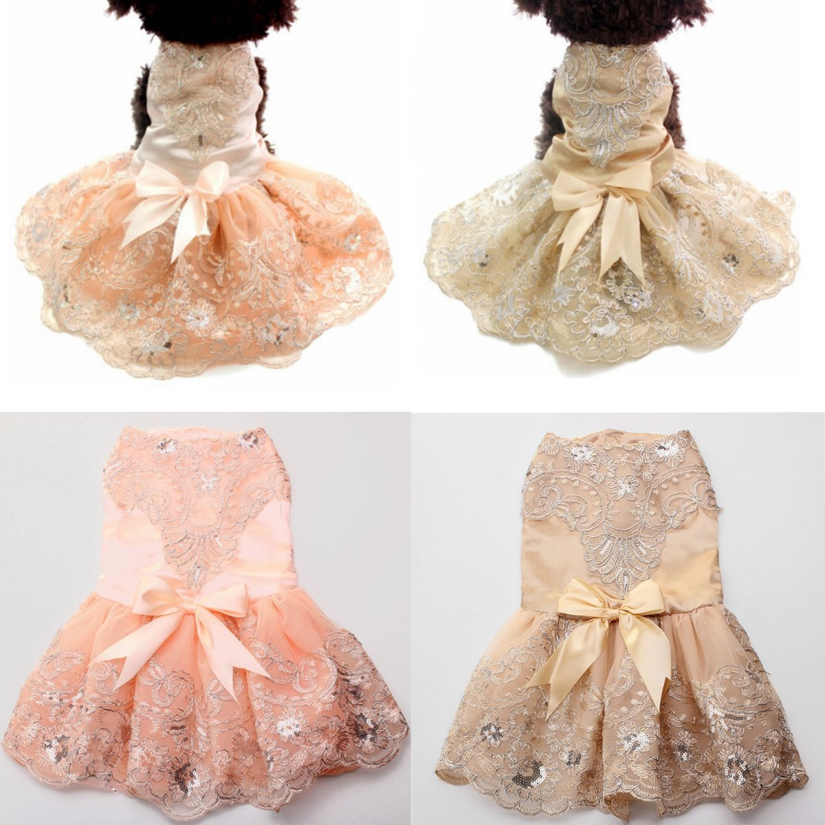 Pet dog Wedding Dress Tutu Cat Puppy Skirt Princess Clothes Flowers Lace design Valentine's Day Decoration Gift
